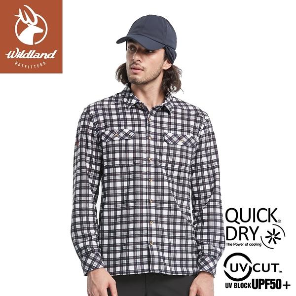 【Wildland 荒野 男 彈性針織格紋保暖襯衫《黑》】0A82206/休閒服/格紋衫/運動衣/薄外套