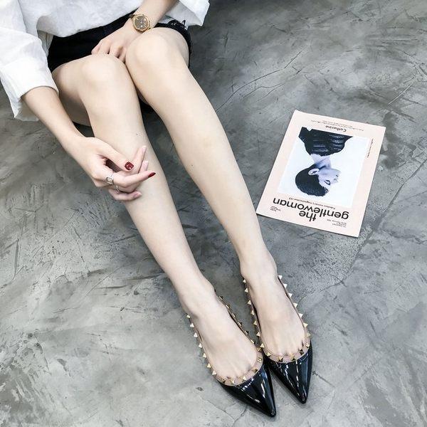 皮鞋尖頭單鞋女淺口平跟柳丁百搭歐美平底鞋子女女鞋鉚釘船鞋     都市時尚