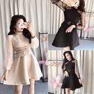 VK精品服飾 韓系波點網紗拼接小香風長袖洋裝