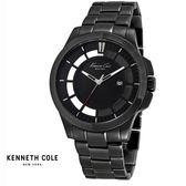 Kenneth Cole 全黑大錶面透視鏤空三針黑鋼男錶 47mm KC10027462 公司貨 | 名人鐘錶高雄門市