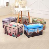 古典加長版收納凳時尚客廳換鞋凳整理箱 可折疊印花儲物凳 【格林世家】
