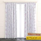 HOLA 桃菱印花雙層遮光半腰窗簾 270x165cm 白