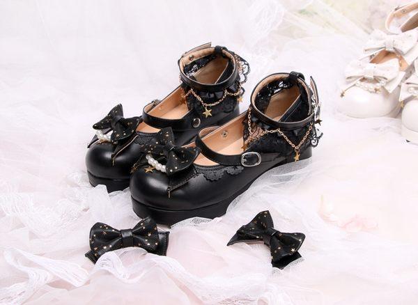 燦若繁星 lolita洛麗塔蝴蝶結日系中跟少女單鞋
