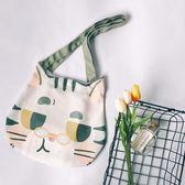 帆布包 原野趣原創日系插畫師設計可愛貓咪頭包包側背包手提帆布包環保袋 魔法空間