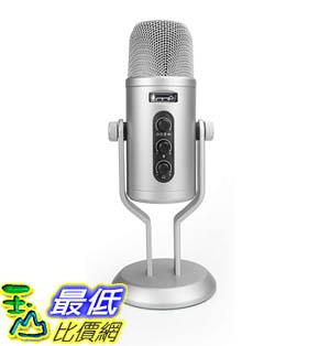 [9美國直購] AmazonBasics 麥克風 Professional USB Condenser Microphone with Volume Control and OLED Screen, Silver