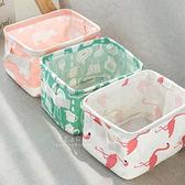 清新棉麻小物方形桌面收納籃 居家收納 收納籃 摺疊式 棉麻籃