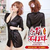 性感睡衣緞面日式和服浴袍套裝經典黑【Gaoria】熱戀情愫 誘惑睡衣睡裙 外罩衫 睡袍 黑色