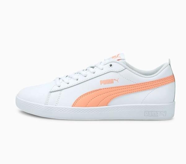 PUMA Smash v2 Leather Women's Trainers 女款白橘色運動休閒鞋-NO.36520826