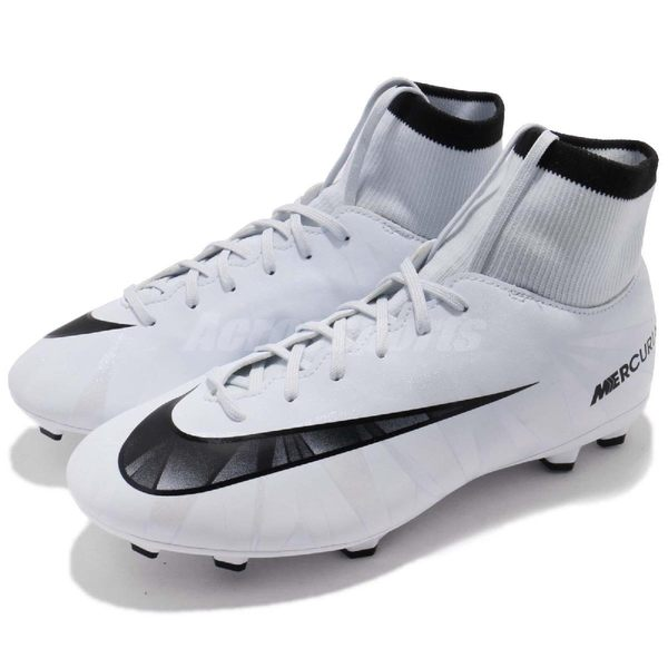 Nike 足球鞋 JR Mercurial VCTY VI CR7 DF FG 白 黑 襪套式 大童鞋 女鞋【PUMP306】 903592-401