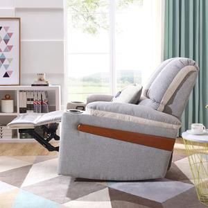 林氏木業防汙多功能單人沙發躺椅(附空調被抱枕)DY14-淺灰色