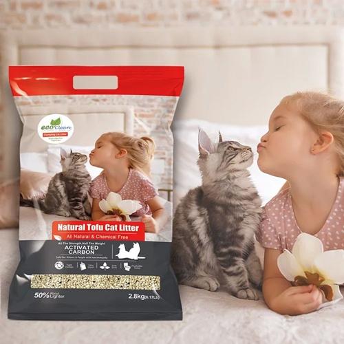 【寵物王國】EcoClean艾可天然草本輕質型豆腐貓砂-活性碳2.8kg