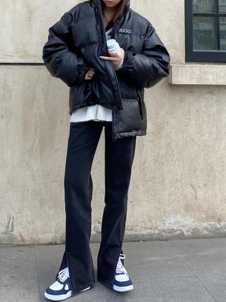 喇叭褲 黑色高腰開叉牛仔褲女春秋季2021新款顯瘦微喇叭闊腿垂感拖地褲子 伊蒂斯