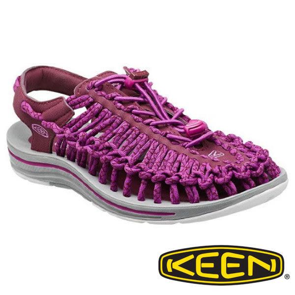 美國 Keen UNEEK 女 編織款拉繩涼鞋 暗紅/灰 1014984