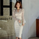 蕾絲洋裝 韓版秋冬裝女OL女神范長袖修身中長款打底包臀連身裙
