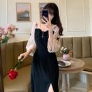 方領洋裝 大碼女裝2021年新款夏裝胖妹妹法式改良版旗袍過膝長款減齡連身裙 寶貝 免運