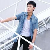 牛仔襯衫牛仔襯衫男士短袖薄款季修身正韓休閒潮流帥氣棉質青年襯衣裝