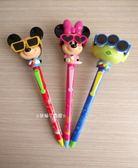 ☆草莓牛奶屋☆日本進口東京迪士尼【Disney Resort】立體眼鏡造型原子筆