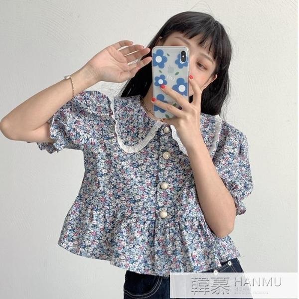 韓版襯衣女士2021年新款夏季設計感小眾短袖碎花上衣百搭外穿襯衫 夏季新品