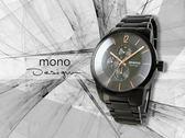 【時間道】mono 曼諾 時尚簡約防刮鏡面三眼腕錶 / 黑面玫瑰金刻鋼帶(5028-536)免運費