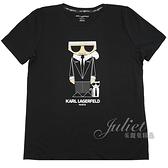 茱麗葉精品【全新現貨】KARL LAGERFELD 卡爾 卡爾墨鏡貓咪棉質短T恤.黑