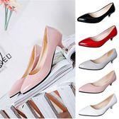 秋季新款女鞋中低跟紅色尖頭高跟鞋細跟亮皮矮跟職業工作單鞋