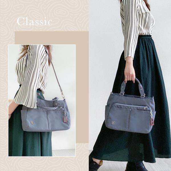 beside u BFYA 多功能口袋手提包托特包側背包兩用包 – 灰藍色 原廠公司貨