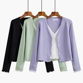 v領針織衫女薄款春秋2021新款開衫外套木耳邊長袖假兩件短款上衣 母親節禮物