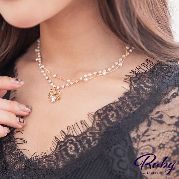 項鍊 韓國直送‧水鑽蝴蝶結珍珠雙層項鍊-Ruby s 露比午茶