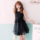 洋裝 露比設計‧刺繡鉤花點點網紗無袖洋裝-黑色-Ruby s露比午茶