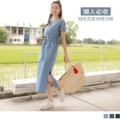 《DA8513-》高含棉純色開襟V領收腰綁帶洋裝 OB嚴選