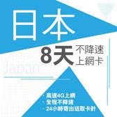 現貨供應 日本 8天 4G不降速 東京 沖繩 神戶 北海道 名古屋 關西 九州 上網 上網卡 網路 網路卡