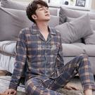 睡衣 睡衣男士長袖春秋季棉質男式開衫套男裝爸爸青中大碼寬鬆衣服男