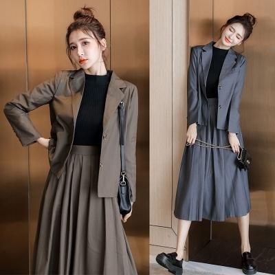 職業西裝套裝~兩件套~秋冬小香風洋氣減齡韓版西裝裙子百褶裙兩件套裝女N511A莎菲娜