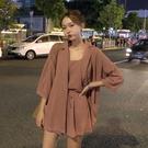 港味時尚套裝女春季新款寬鬆西裝外套 吊帶 休閒褲短褲網紅兩件套