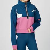 Nike Pro Get Fit 女子 藍綠色 太空棉 半拉鍊 拼接 短版 長袖 上衣CJ3467-432