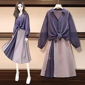 襯衫洋裝 顯瘦大碼女裝夏季減齡氣質時尚洋氣遮肚防曬襯衫套裝連身裙子-Ballet朵朵