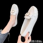 豆豆鞋女平底白色軟底護士鞋韓版百搭蝴蝶結淺口單鞋 格蘭小鋪