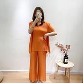 短袖褲裝(兩件套)-純色T恤高彈力褶皺女褲子4色73yo23[時尚巴黎]