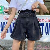 2019夏季新款韓版大碼胖mm牛仔短褲女高腰寬鬆顯瘦a字闊腿熱褲子