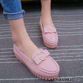 豆豆鞋女淺口圓頭平跟舒適孕婦鞋