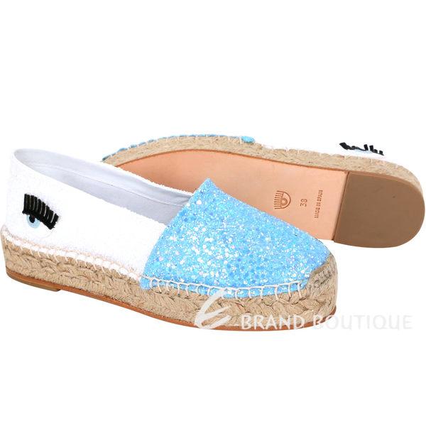 Chiara Ferragni Natalie 雙色拼接亮片草編鞋(天空藍x白) 1610065-27