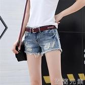 年新款牛仔短褲女夏破洞時尚百搭修身顯瘦直筒低腰超短褲子潮 至簡元素
