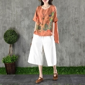 園園美衣復古文藝棉麻短袖上衣女裝夏季亞麻前短後長寬鬆苧麻T恤