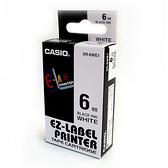 CASIO卡西歐XR-6WE1色帶KL-170專用標籤紙6mm單卷裝白底黑字