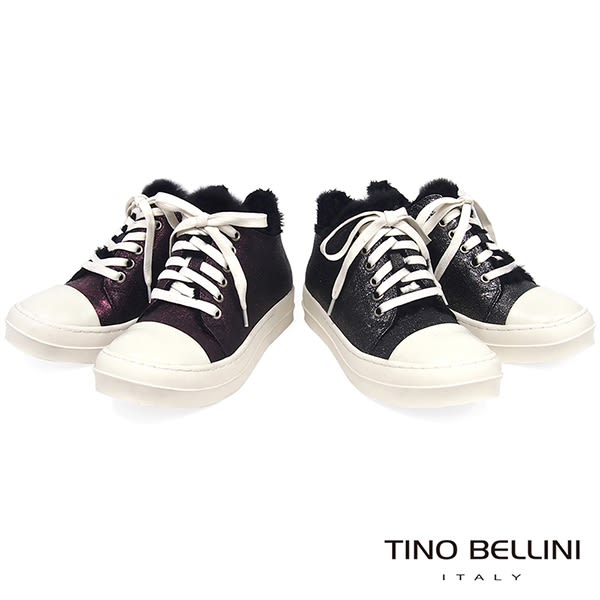 Tino Bellini青春暖心鋪毛綁帶厚底休閒鞋_金屬灰 B79239