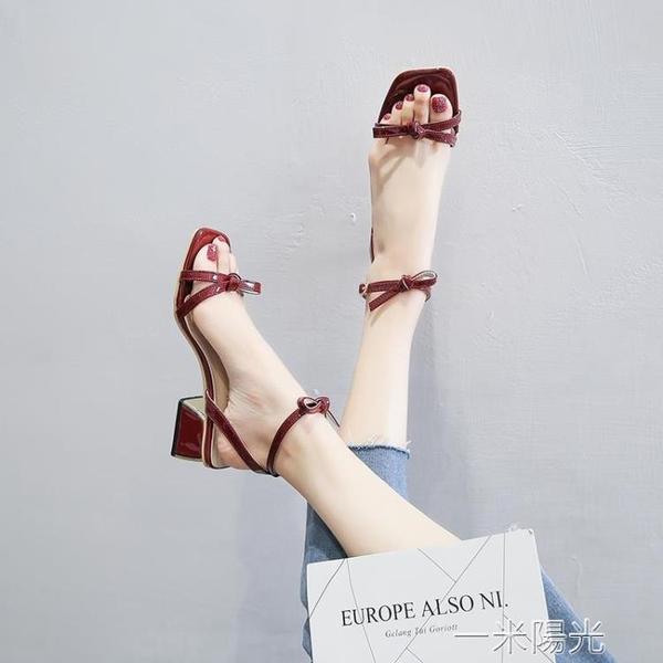 高跟鞋勾勾涼鞋女中跟粗跟2020年新款夏季一字扣帶仙女風ins潮鞋  聖誕節免運