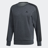 Adidas ESS 3S CREW [DJ2665] 男款 運動 休閒 棉質 長袖 上衣 大學T 必備 愛迪達 黑灰
