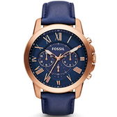 【台南 時代鐘錶 FOSSIL】FS4835IE 極致品味 羅馬時標三眼計時腕錶 藍/玫瑰金 45mm