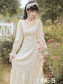 秋新款復古法式女方領淡黃色森系初戀收腰仙洋裝可鹽可甜溫柔風