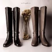 現貨-MIUSTAR 歐美優質牛皮側扣環低跟長筒靴(共2色,36-39)【ND4805V1】
